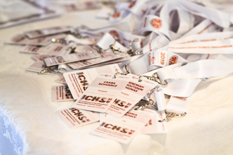 The badges of the participants