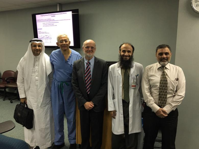 Prof. Andras Szasz (C) with some of the Saudi cancer experts during his visit to the Kingdom
